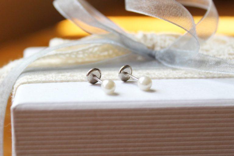 Pendientes perla bebe Plata