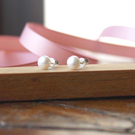 Pendientes perla pequeño Plata