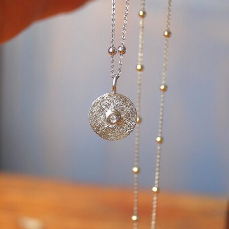 Colgante Quer plata y Diamante cadena bolitas
