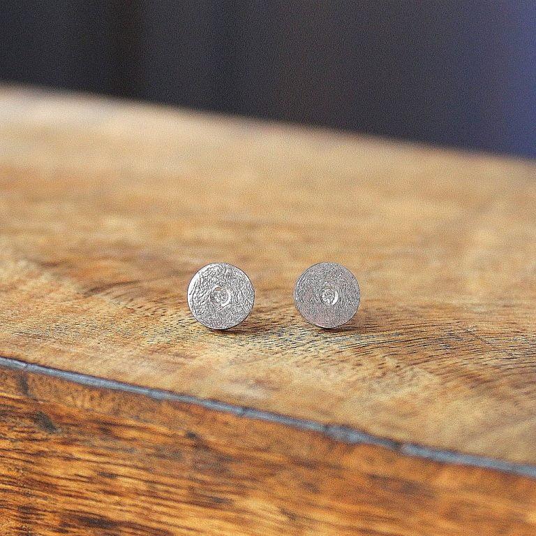 Pendientes Elba Diamante y Plata texturada