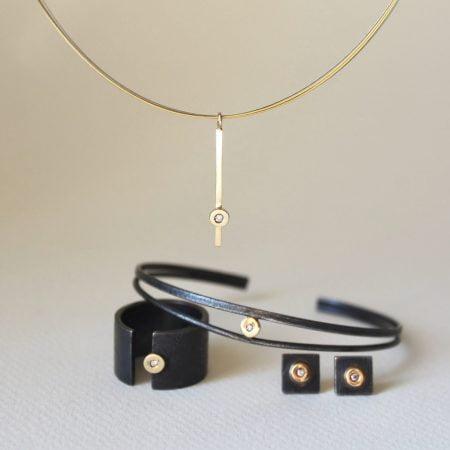 Pulsera Arsenda Black Oro, Diamante y Plata